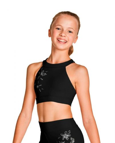 Bloch Girls Halter Neck Crop Top with Metallic Floral Print FT5214C